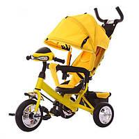 Трехколесный велосипед TILLY Trike T-346 Желтый, Велосипед с родительской ручкой, Велосипед с музыкой