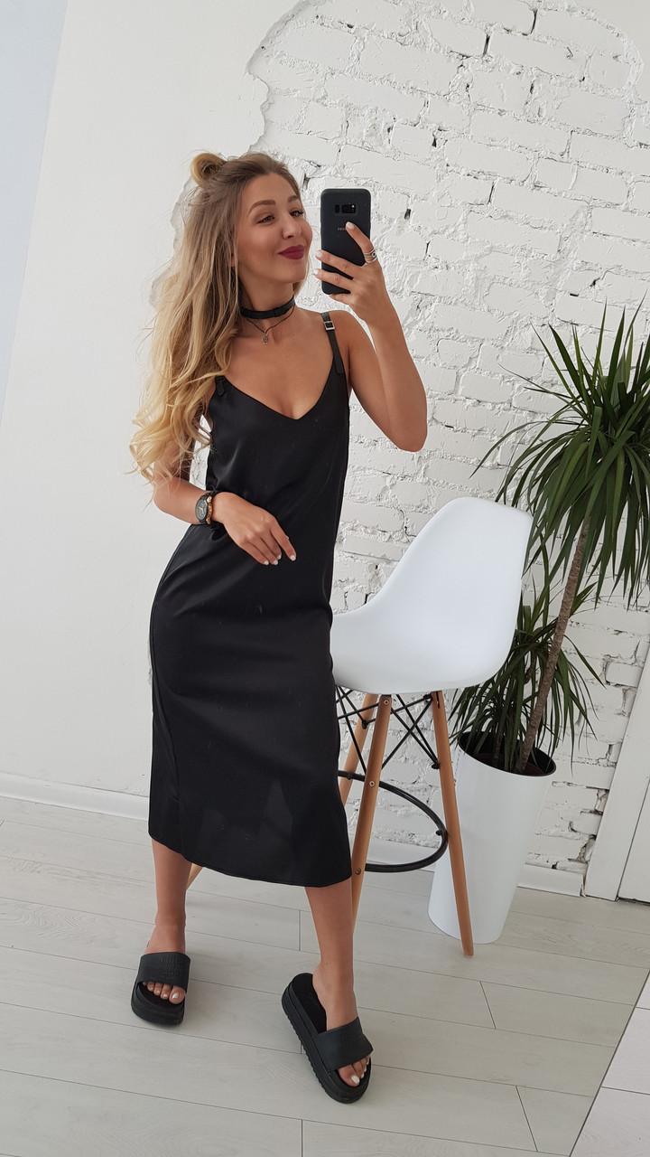 Женское летнее шелковое платье на брительках черного цвета