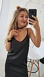Женское летнее шелковое платье на брительках черного цвета, фото 2