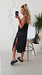 Женское летнее шелковое платье на брительках черного цвета, фото 3