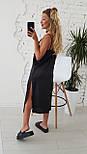 Женское летнее шелковое платье на брительках черного цвета, фото 4