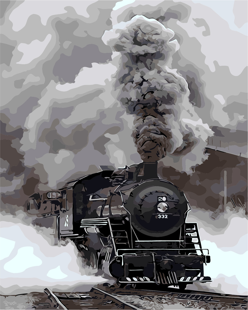 """Картина по номерам """"Прибытие поезда"""" 40*50см"""