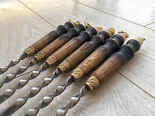 """Шампур с деревянной ручкой и бронзовыми навершиями """"Звери-2"""" (3мм, 70см, 1шт), фото 2"""