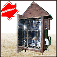Электростатическая Коптильня 1300л -холодного и горячего копчения, +просушка. Нержавейка внутри, крыша домиком, фото 1