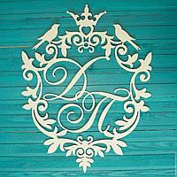 Монограмма (Герб) на свадьбу из дерева.Декорации из дерева для свадьбы.Объемные буквы и надписи из дерева