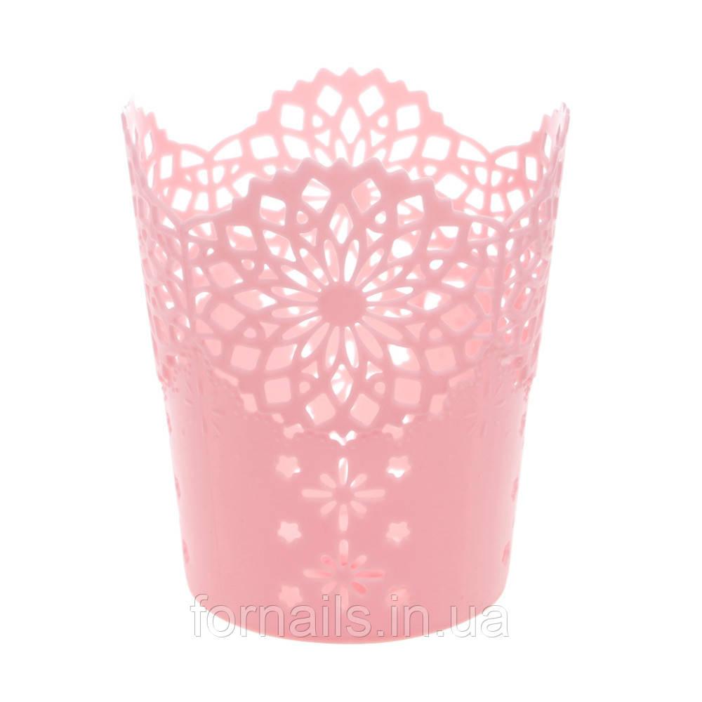 Подставка для кистей и пилок маленькая, розовая