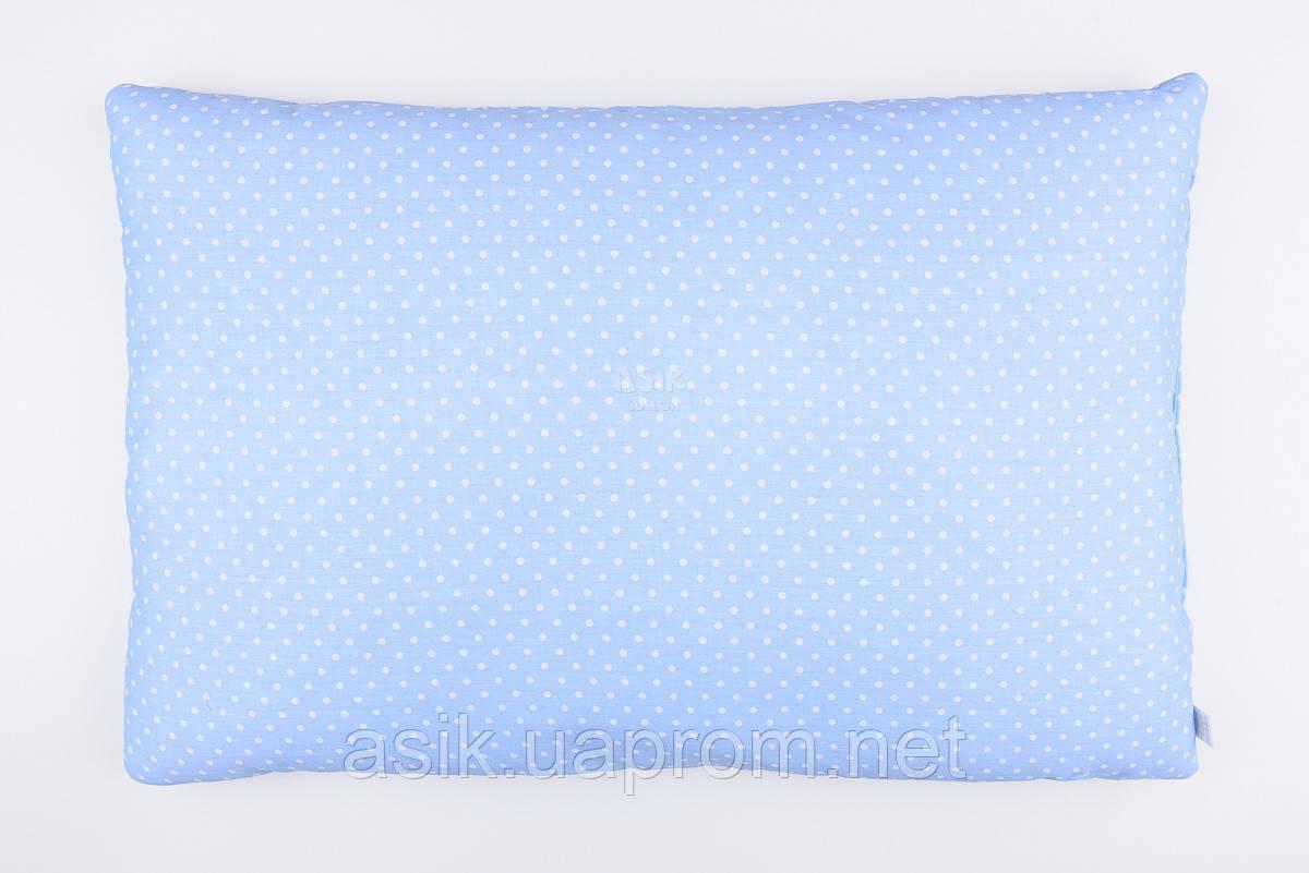 Подушка детская 60*40 голубого цвета с белым горошком.