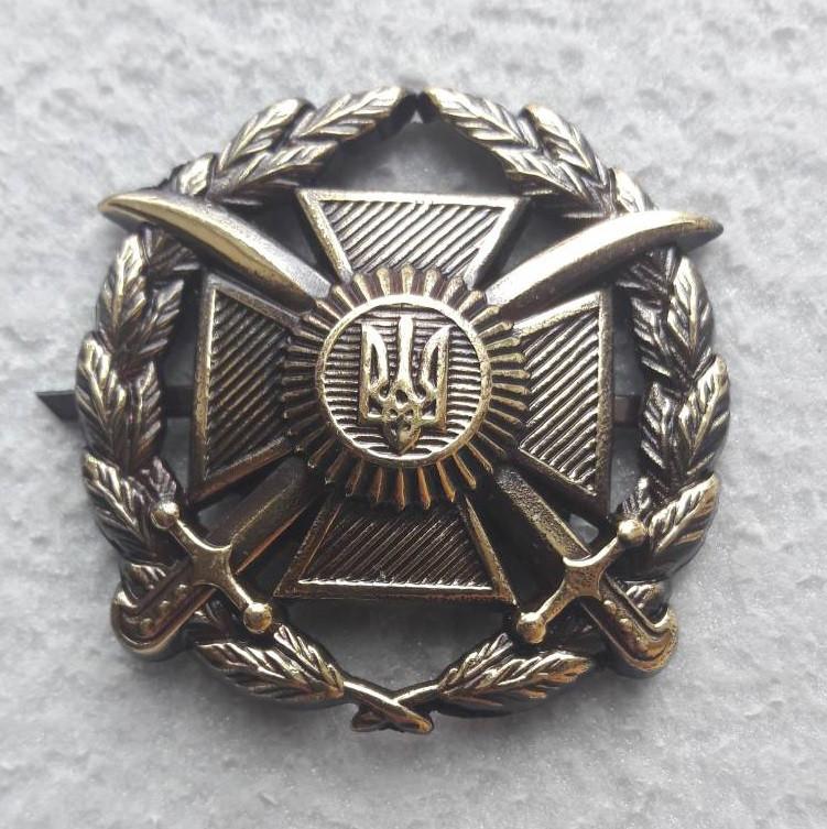 Кокарда на бере Сухопутних військ загальновійськова ( МЕТАЛ З ТЕМНЕНИЕМ)