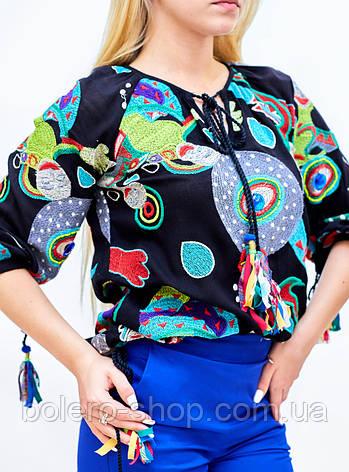 Брендовая женская блузка вышитая гладью  Италия, фото 2