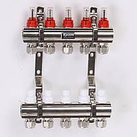 """Коллектор ROSSINI с расходомерами, термоклапанами и евроконусами  1""""x3/4"""" 5 выходов"""