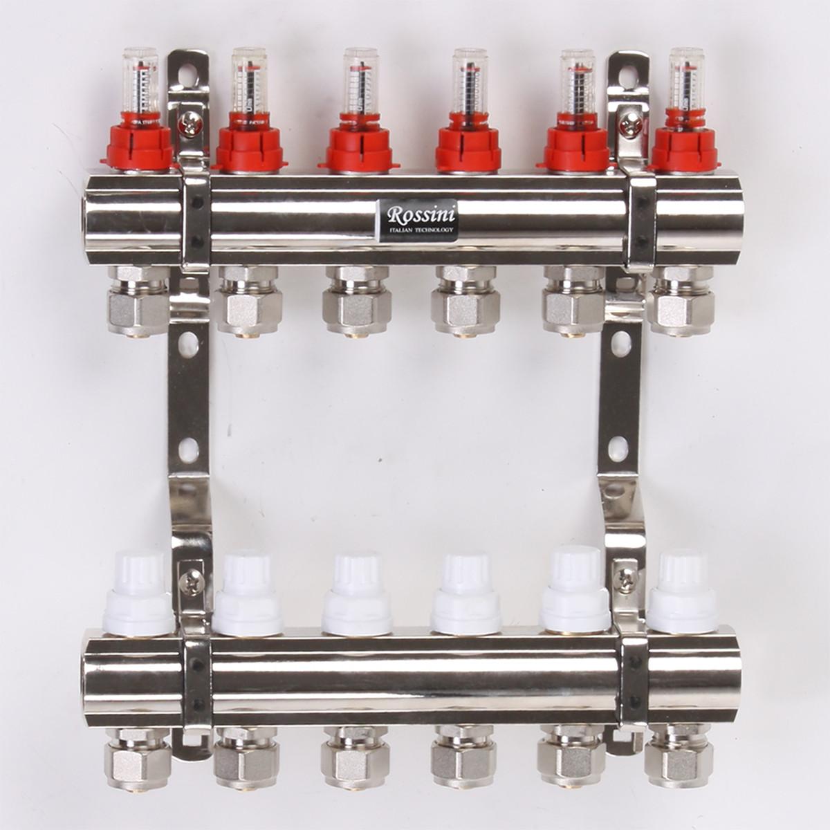 """Коллектор ROSSINI с расходомерами, термоклапанами и евроконусами 1""""x3/4"""" 6 выходов"""