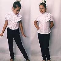 Нарядная  белая блуза для девочки в размерах 128;134;140;146;152, фото 1