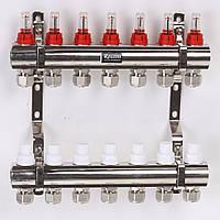 """Коллектор ROSSINI с расходомерами, термоклапанами и евроконусами 1""""x3/4"""" 7 выходов"""