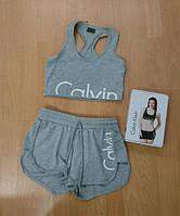 МАЙКА (топ) + ШОРТЫ - Calvin Klein СК (Кельвин) СЕРЫЙ  женский СПОРТИВНЫЙ комплект размер S, M, L, XL