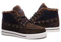 Мужские кроссовки Nike High Top Fur Brown с мехом