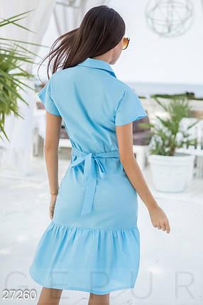 Летнее платье рубашка с паетками миди с воланом голубое, фото 2