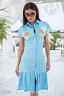 Летнее платье рубашка с паетками миди с воланом голубое