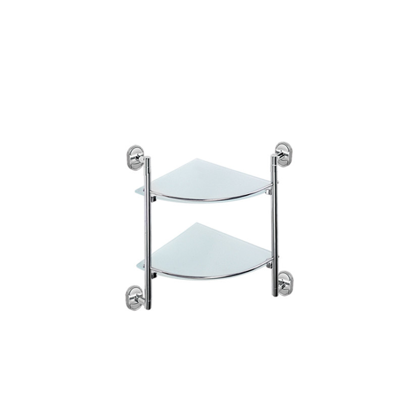 Полка стеклянная угловая 2-х ярусная Potato P2907-2 хром