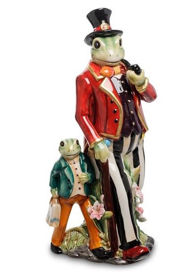 """Фарфоровая Статуэтка """"Мистер Фрогги с сыном"""" Pavone CMS - 53/1"""