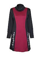 Комбинированное платье Аленушка / разм. до 64+ / с воротником / больших размеров /