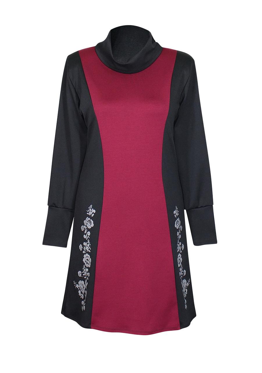недорогое платье из трикотажа Аленушка комбинированное с бордовым
