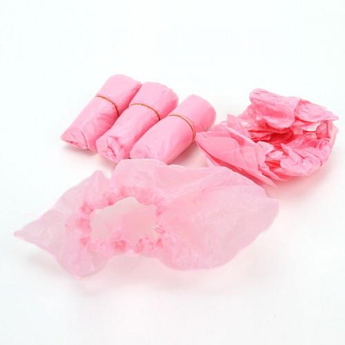Бахилы полиэтиленовые 50пар уп розовые