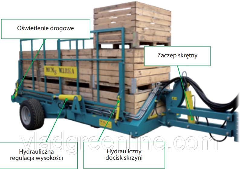 Прицеп садовый грузовой разгрузочный PZW-490 Warka (Польша)