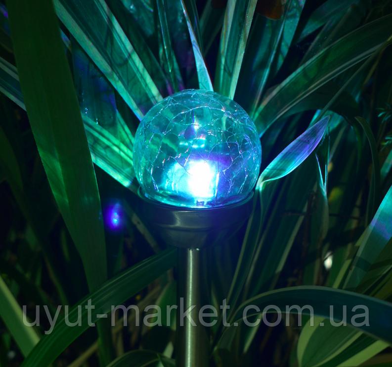 Газонный светильник на солнечной батарее, волшебный шар RGB(смена цвета) CAB118 , фото 1