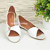 Женские кожаные белые балетки с открытым носочком от производителя, фото 3