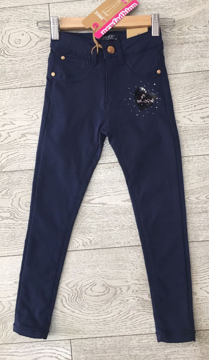 Котоновые брюки для девочек оптом, Grace, 98-128 рр., арт. G81624