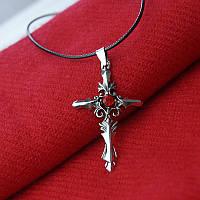 Кулон Крест с красным камнем, фото 1