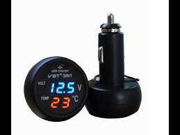 Автомобильный термометр-вольтметр Часы VST 706-5 в машину, фото 2