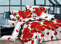 """Двуспальное постельное белье Ранфорс комплект 3D """"Алые розы на белом"""""""