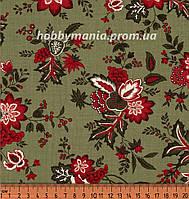 Ткань для пэчворка - Букеты цветов, Зеленый, Красный, Новогоднее Веселье, Новый Год и Рождество