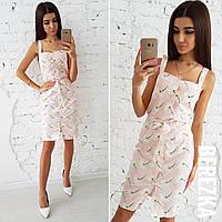 Платье-рубашка без рукава под пояс в принт 66031731, фото 1