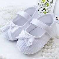 Детские белые пинетки для крестин девочки от 0 до 18 месяцев, фото 1