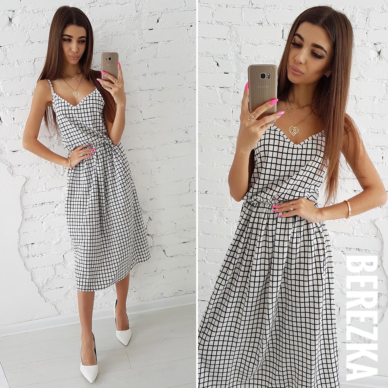 1d84e3317a1 Легкое летнее платье на бретельках ниже колена 66031734 - Интернет-магазин  одежды