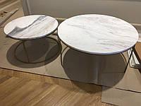 Стол кофейный Double joy, 800/600х450/420 мм. из натурального мрамора - 2 шт. комплект