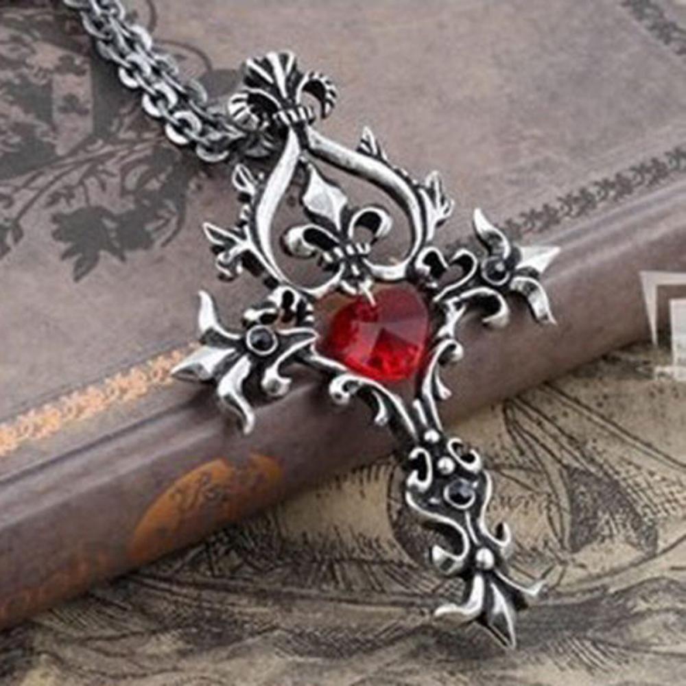 Подвеска крест с красным камнем в форме сердца