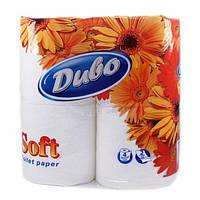 Бумага туалетная 2 слоя, 4 рулона/уп белая Диво