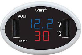 Часы автомобильные VST 708-4 электронный вольтметр
