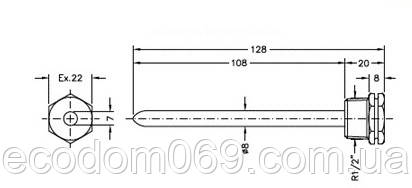 Длинная медная гильза для температурного датчика 12 см.