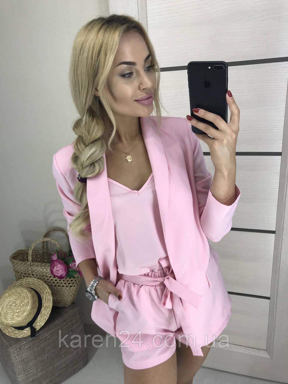 5d4413111d4cf Женский летний костюм тройка с шортами, розовый! - Интернет-магазин