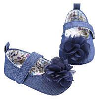 Джинсовые детские пинетки туфельки с цветком для новорожденной девочки, 3, 6, 9, 12, 18 месяцев, фото 1