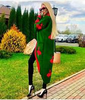 Красивый женский длинный кардиган с вышивкой