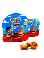 """Печиво """"OZMO BURGER"""" сендвіч з молочним і шоколадним кремом та рисовими кульками 40грх12штх6бл"""