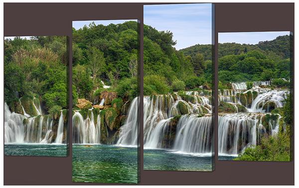 Модульная картина Лес и водопад