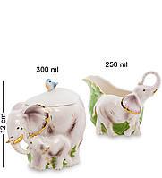 Фарфоровый набор сахарница и молочник ''Слоны'' (Pavone) FM-74/2
