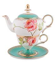 Чайный набор из костяного фарфора ''Роза'' (Milano Rose Pavone) JK-71