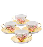 Чайный набор из костяного фарфора на 4 персоны ''Пионы'' (Torino Peony Pavone) JK-80